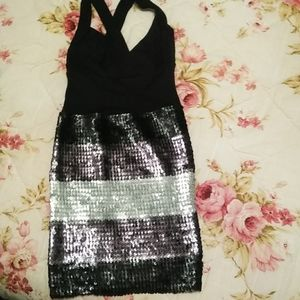 Black Stretchy Sequent Dress